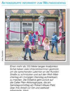 Pinke Schals schmücken die Sprechenden Laternen (Cellesche Zeitung, 10.10.2016)