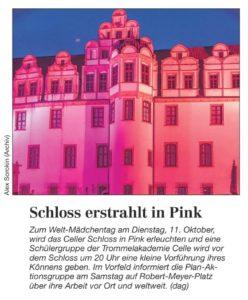 Wir pinkifizieren das Schloss (Cellesche Zeitung, 07.10.2016)